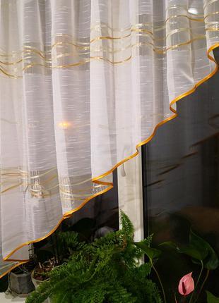 Занавеска штора тюль на кухню уголок полоска