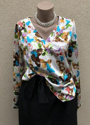 Шелковая блуза,рубашка в принт,joyce & girls.