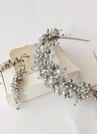 Набор свадебных украшений, обруч и серьги серебристого цвета. ...