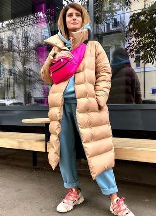Зимняя куртка бежевая длинная стеганая
