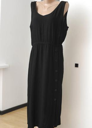 George. черное платье миди без рукавов с декоративными пуговиц...