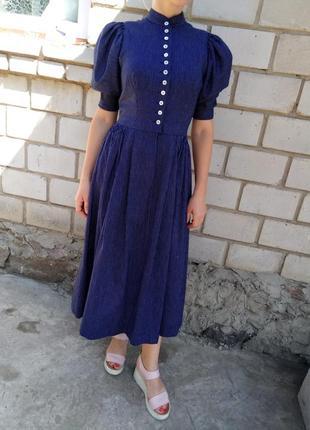 Стильные винтажное платье с пуговицами на груди раз. xs-s