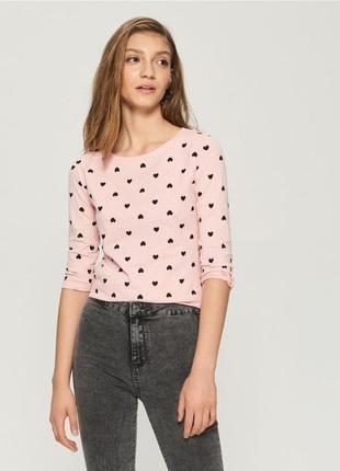 Новая бежевая розовая пудра кофта блузка польша принт сердце р...