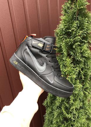 Зимние Мужские Кожаные Кроссовки На Меху Nike Air Force