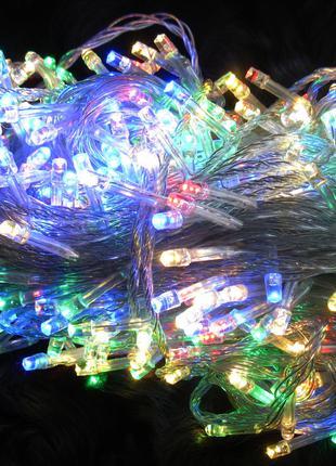 Гирлянда новогодняя , разноцветная , белый кабель . 500 LED