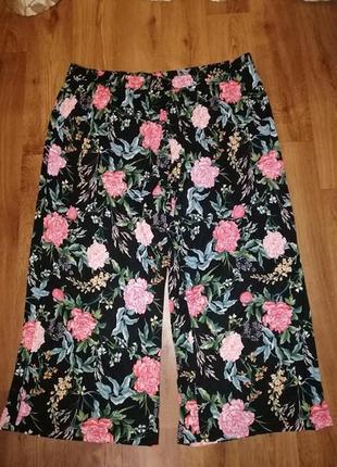 🌺🌷🌺женские брюки расклешенные палаццо кюлоты в цветочный принт...