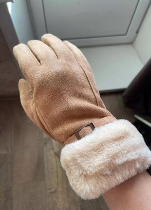 Бежевые перчатки женские варежки рукавицы кремовые