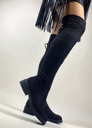 ❤ женские черные осенние демисезонные сапоги ботфорты ❤