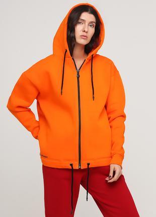 """Толстовка """"Only Women"""" оранжевая с боковыми карманами"""