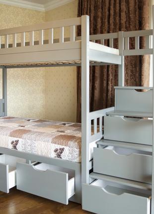 Деревянная двухъярусная кровать Владимир со ступеньками в детскую