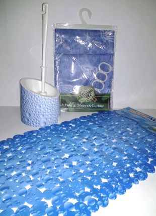 Набор в ванную коврик силиконовый на присосках ёрш шторках