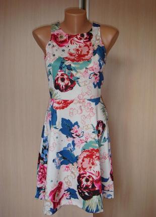 H&m красивое летнее платье сарафан в цветах