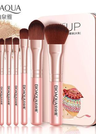 Набір пензлів в металевій коробці bioaqua makeup brush set (7шт)