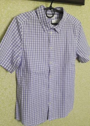 H&m новая рубашка с коротким рукавом в клетку для модника