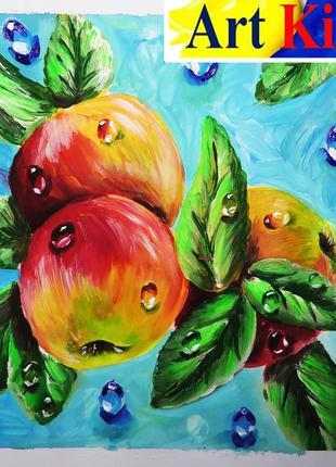 """Видео-урок по рисованию картины """"Яблоки с каплями росы""""."""