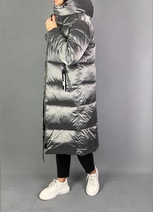 Пуховик одеяло длинная зимняя куртка с капюшоном.