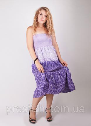Фиолетовая, хлопковая юбка, платье трансформер, градиент