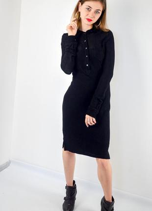 Ralph lauren черное поло платье рубашка миди с длинным рукавом...