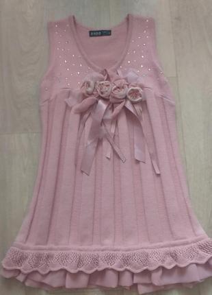 Шикарное вязаное платье 7-9 лет