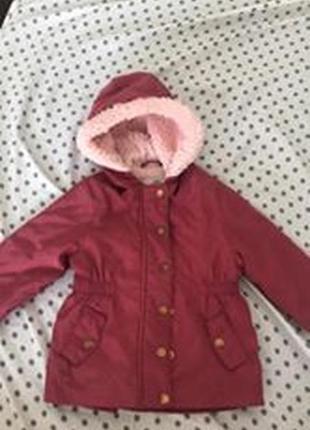 Куртка парка вишневая lc waikiki 6-9 м с небольшим мехом на осень
