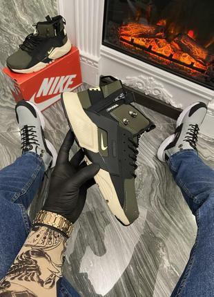 Nike air huarache mid green/black (термо)