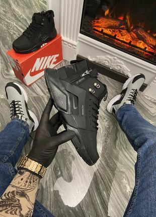Nike air huarache mid triple black (термо)