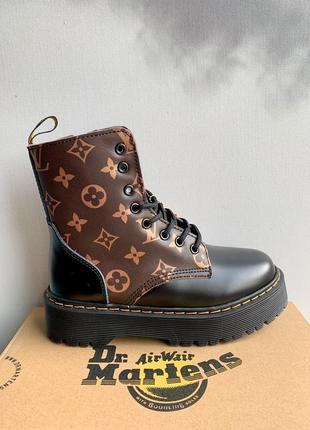 Ботинки dr. martens jadon x louis vuitton black fur черевики