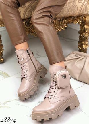 Ботинки зимние PRADA кожа