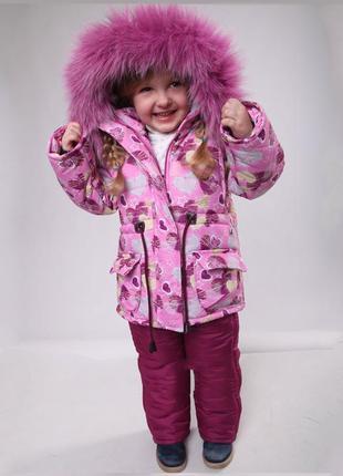 Детский зимний комбинезон для девочки 86-110