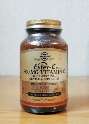 Витамин C, Ester-C Plus, 500 мг, Solgar, 100 капсул