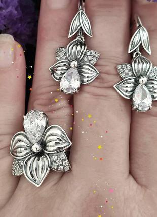 Серебряный набор с фианитом, 925, серебро, серьги, кольцо
