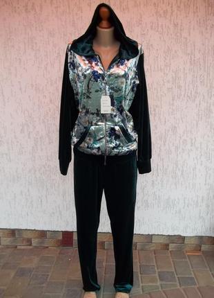 (54р) спортивный бархатный велюровый костюм новый