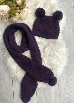Шапка с шарфом для девочки