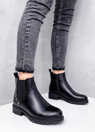 Женские зимние ботинки челси,чёрные ботинки челси на меху