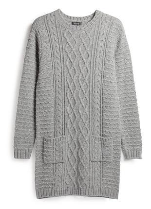 Теплое свитер платье джемпер туника крупной вязки  primark