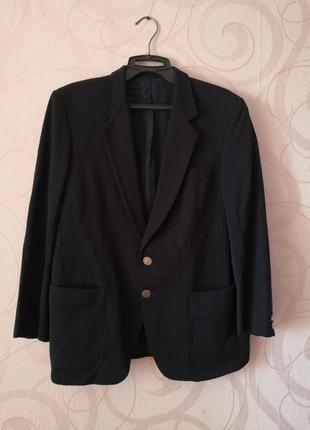 Темно-синий блейзер, женский пиджак, жакет на осень, шерсть, в...