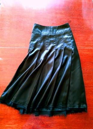 Шикарная качественная юбка шелковая черная на подкладке