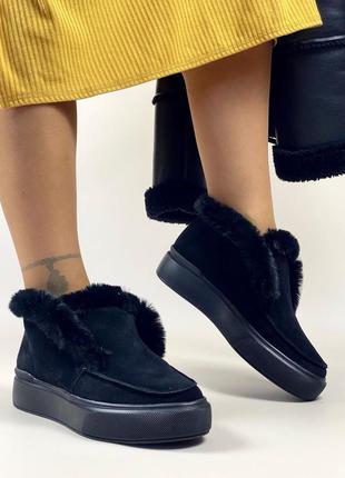 ❤ женские черные зимние замшевые лоферы ботинки ботильоны ❤