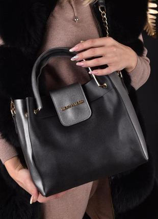 Стильная женская сумка, черная,серая