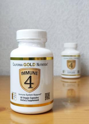Immune4, Витамин С 500 + цинк + d3, California Gold, 60 капсул