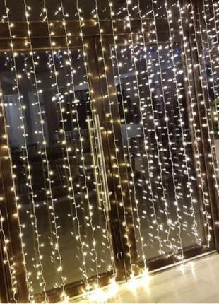 Гирлянда 2*2м светодиодная штора LED водопад (белый, радуга, неон