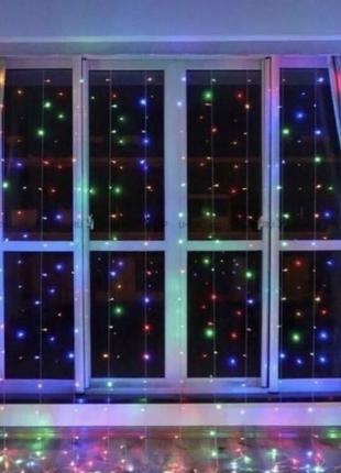 Гирлянда 3*2м светодиодная штора LED водопад (белый, радуга, неон