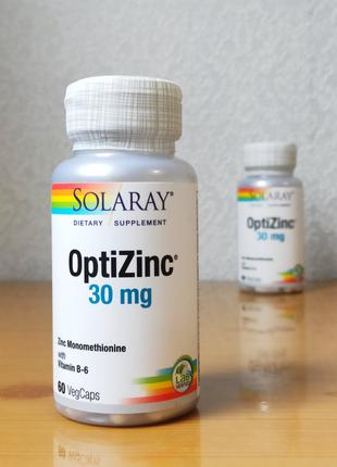 Цинк, OptiZinc, и витамин B6, Solaray, 30 мг, 60 шт