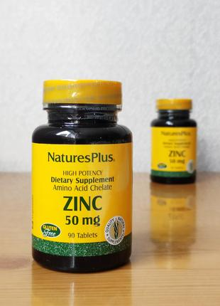Цинк Хелат, Nature´s Plus, 50 мг, 90 таблеток