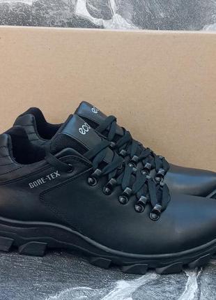 Мужские зимние ботинки ecco gtx winter boots черные,кожаные, с...