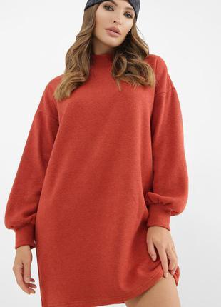 Терракотовое платье на осень-зиму