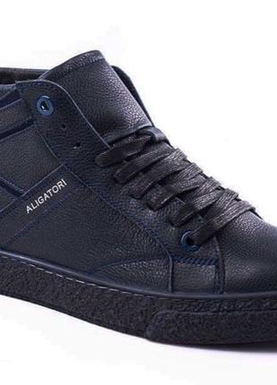 Зимние кожаные мужские ботинки