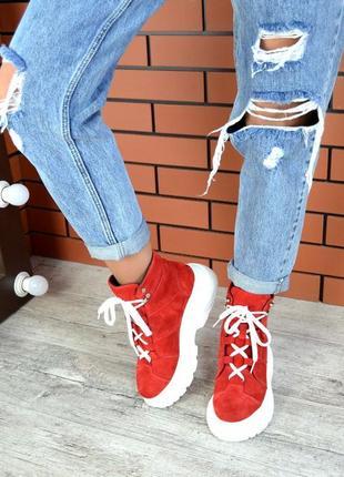 Натуральная замша эффектные замшевые осенние ботинки на массив...