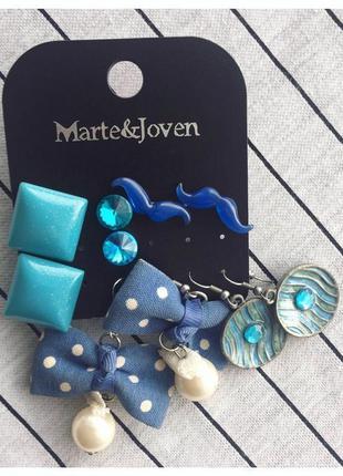 Набір, комплект сережки, голубые серьги, лот, синие серьги.