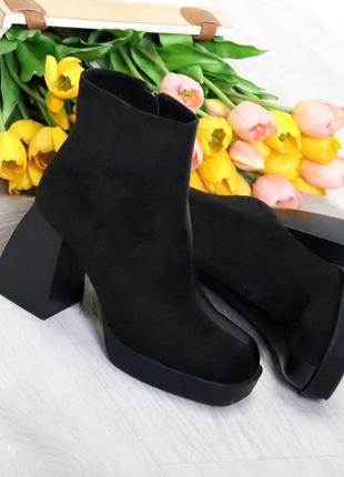 Люксовые женские черные ботинки ботильоны на фигурном каблуке ...